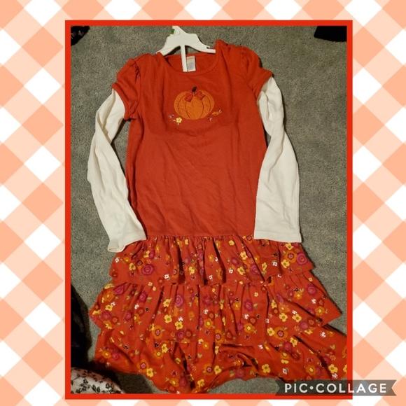 Gymboree 12 fall dress,tiered pumpkin